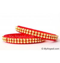Red Colour Silk Thread Bangles-2 Set