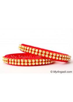Red Colour Silk Thread Bangles-2 Set