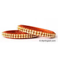 Brick Red Colour Silk Thread Bangles-2 Set