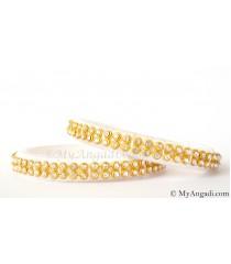 White  Silk Thread Bangles-2 Set