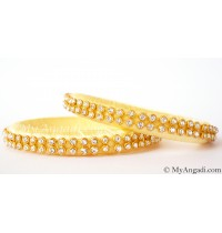 Ivory Colour Silk Thread Bangles-2 Set