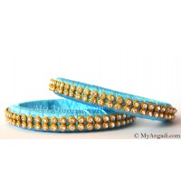 Turquoise Blue Colour Silk Thread Bangles-2 Set