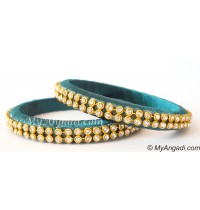 Teal Green Colour Silk Thread Bangles-2 Set