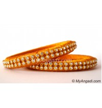 Dark Yellow Colour Silk Thread Bangles-2 Set