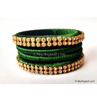 Dark Green Silk Thread Bangles-4 Set