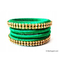 Green Silk Thread Bangles-4 Set