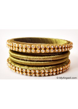 Olive Green Colour Silk Thread Bangles-4 Set