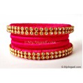 Pink Silk Thread Bangles-4 Set