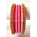 Rose Colour Silk Thread Bangles-4 Set