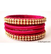 Magenta Colour Silk Thread Bangles-4 Set