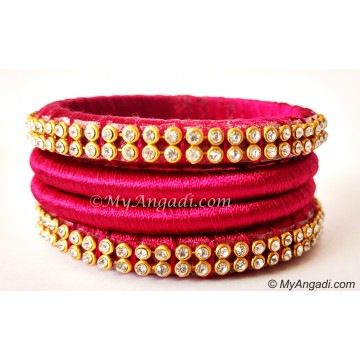 Magenta Colour Silk Thread Bangles-4 Set