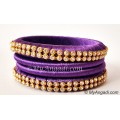 Violet Colour Silk Thread Bangles-4 Set