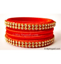 Orange Colour Silk Thread Bangles-4 Set
