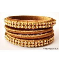 Kakki Colour Silk Thread Bangles-4 Set