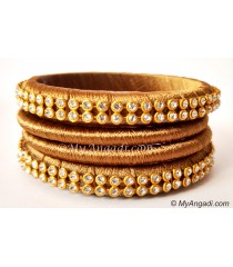Kakki Colour Silk Thread Bangles-4 Set
