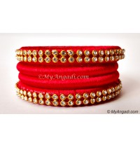 Red Colour Silk Thread Bangles-4 Set
