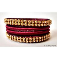 Maroon Colour Silk Thread Bangles-4 Set