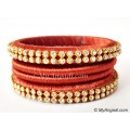 Brick Red Colour Silk Thread Bangles-4 Set