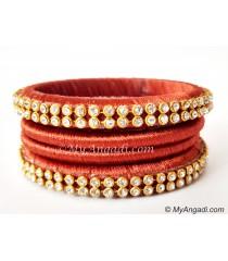 Brick Red Colour Silk Thread Bangles-4 Set