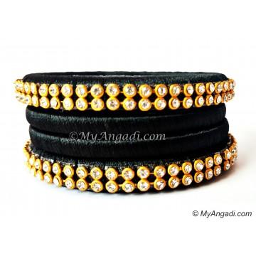 Black Colour Silk Thread Bangles-4 Set