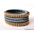 Grey Colour Silk Thread Bangles-4 Set