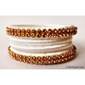 White  Silk Thread Bangles-4 Set