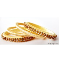 Ivory Colour Silk Thread Bangles-4 Set