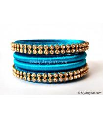 Blue Colour Silk Thread Bangles-4 Set