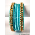 Turquoise Blue Colour Silk Thread Bangles-4 Set