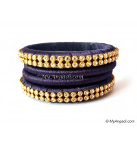 Dark Blue Colour Silk Thread Bangles-4 Set