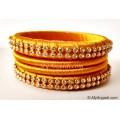 Golden Colour Silk Thread Bangles-4 Set
