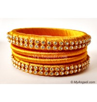 Golden Colour Silk Thread Bangles-4 Set