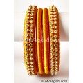 Dark Yellow Colour Silk Thread Bangles-4 Set