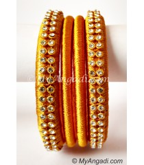 Dark Yellow Colour Silk Thread Bangles-4 Set