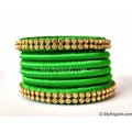 Lime Green Silk Thread Bangles-6 Set
