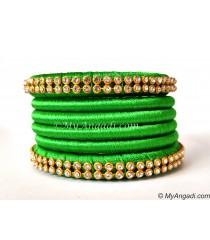 Lime Green Silk Thread Bangles-6 Set