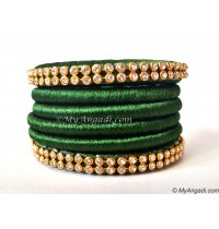 Dark Green Silk Thread Bangles-6 Set