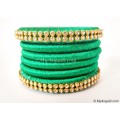 Green Silk Thread Bangles-6 Set