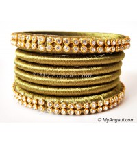 Olive Green Colour Silk Thread Bangles-6 Set