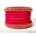 Pink Silk Thread Bangles-6 Set