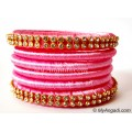 Rose Colour Silk Thread Bangles-6 Set