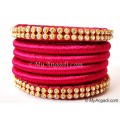 Magenta Colour Silk Thread Bangles-6 Set