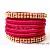 Magenta Colour Silk Thread Bangles-6 Set