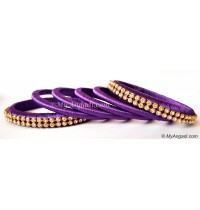 Violet Colour Silk Thread Bangles-6 Set