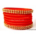 Orange Colour Silk Thread Bangles-6 Set
