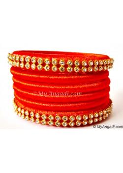 Orange Colour Silk Thread Bangles-6 Set