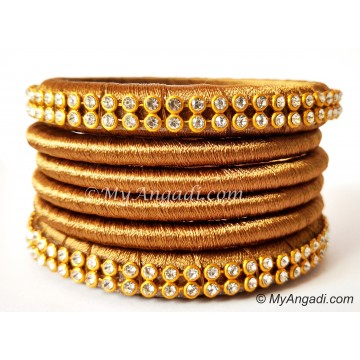 Kakki Colour Silk Thread Bangles-6 Set