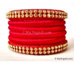 Red Colour Silk Thread Bangles-6 Set