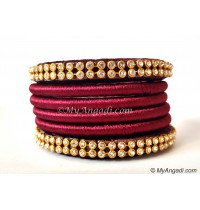 Maroon Colour Silk Thread Bangles-6 Set