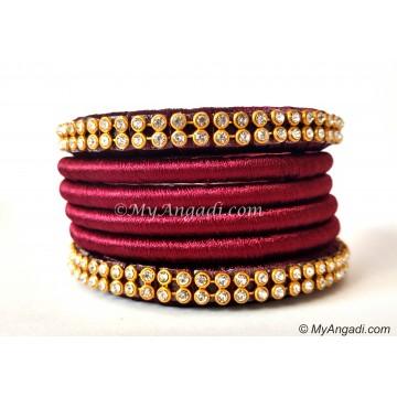 Maroon Colour Silk Thread Bangles-6 Set